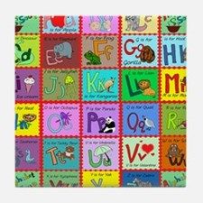 alphabet soup creations Tile Coaster