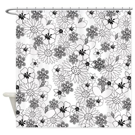 Black And White Floral Shower Curtain By Expressyoursoul