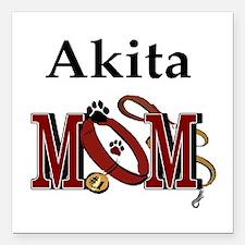 "Akita Mom Square Car Magnet 3"" x 3"""