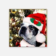 "Christmas Boston Terrier Square Sticker 3"" x 3"""