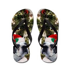 Christmas Boston Terrier Flip Flops