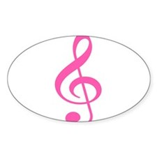 Pink Treble Clef Oval Decal