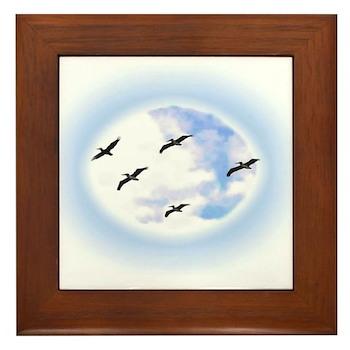 Pelicans flying above Framed Tile