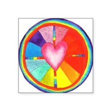 Rainbow Heart Mandala Rectangle Sticker