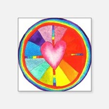 Rainbow Heart Mandala Rectangle Sticker