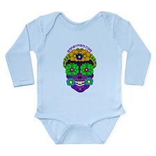 Boneyfied Flower Skull Long Sleeve Infant Bodysuit