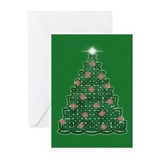 Celtic Christmas Tree (green) Greeting Cards (10)