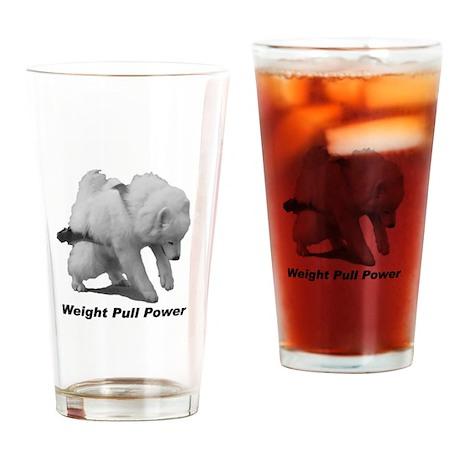 Samoyed Weight Pull Power Drinking Glass