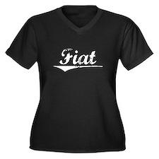 Aged, Fiat Women's Plus Size V-Neck Dark T-Shirt