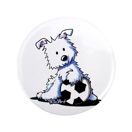 """Westie Soccer Star 3.5"""" Button"""