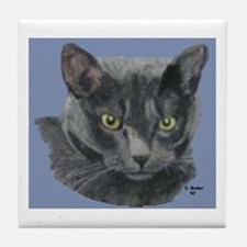 American Shorthair Gray Cat Tile Coaster
