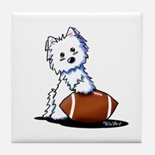 Westie Football Star Tile Coaster