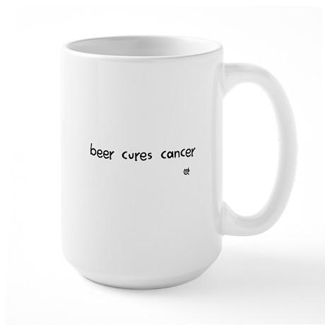 beer cures cancer Large Mug