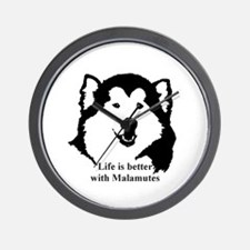 Life is better with Malamutes Wall Clock