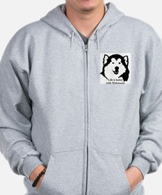 Life is better with Malamutes Zip Hoodie