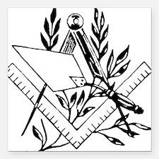 "Masonic Tools Square Car Magnet 3"" x 3"""