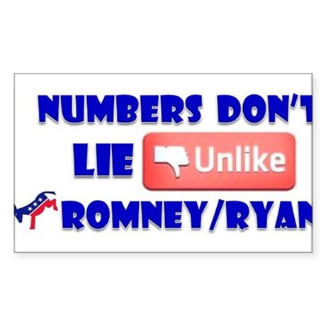 Numbers Don't Lie Unlike Romney/Obama Sticker (Rec