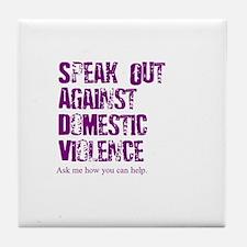 Purple Speak Out! Tile Coaster