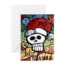 Feliz Navidad Sugar Skull Christmas Santa Greeting