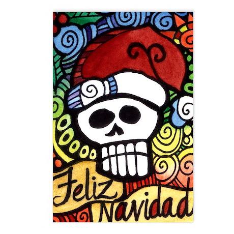 Feliz Navidad Sugar Skull Christmas Santa Postcard