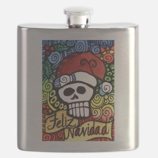 Feliz Navidad Sugar Skull Christmas Santa Flask