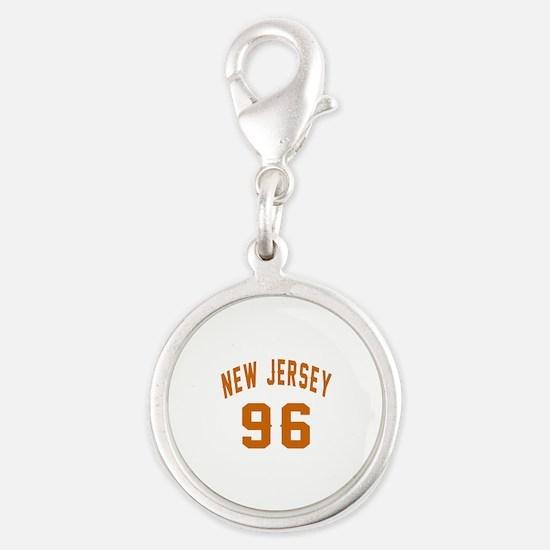 New Jersey 96 Birthday Designs Silver Round Charm