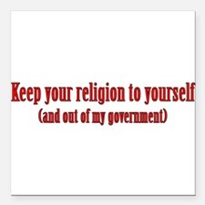 """Keep Your Religion Square Car Magnet 3"""" x 3"""""""