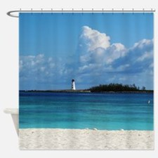Nassau Bahamas Beach Lighthouse Shower Curtain
