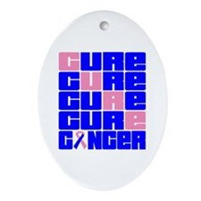 CURE Male Breast Cancer Collage Ornament (Oval)