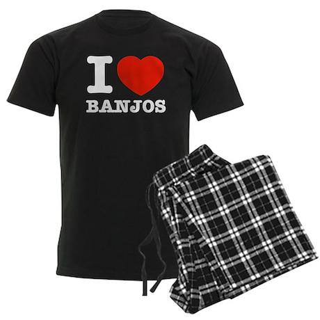 I Love Banjos Men's Dark Pajamas