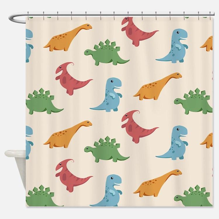 Kids dinosaur shower curtains kids dinosaur fabric for Kids dinosaur fabric