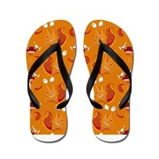 Orange Monsters Flip Flops