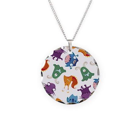 Monster Mash Print Necklace Circle Charm