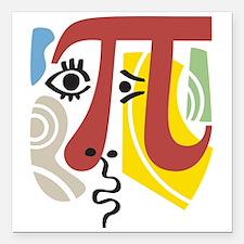 """Pi Symbol Pi-Casso Square Car Magnet 3"""" x 3&q"""