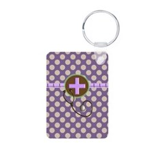Medical polka dots purple.PNG Keychains