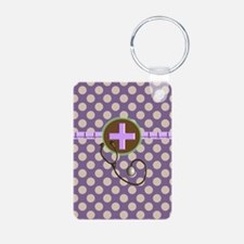 Medical polka dots purple.PNG Keychains