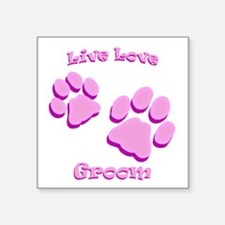 "Live Love Groom Square Sticker 3"" x 3"""