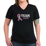 Breast cancer team v neck Womens V-Neck T-shirts (Dark)