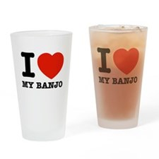 I Love Banjos Drinking Glass