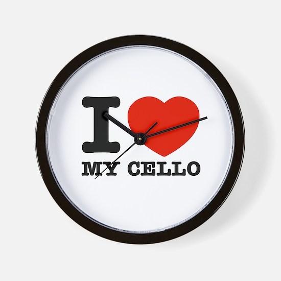 I Love My Cello Wall Clock