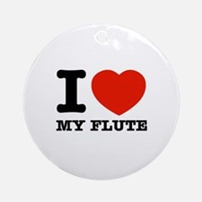 I Love My Flute Ornament (Round)