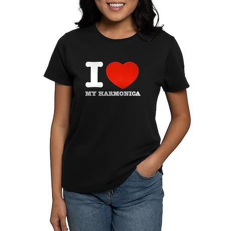 I Love My Harmonica Women's Dark T-Shirt
