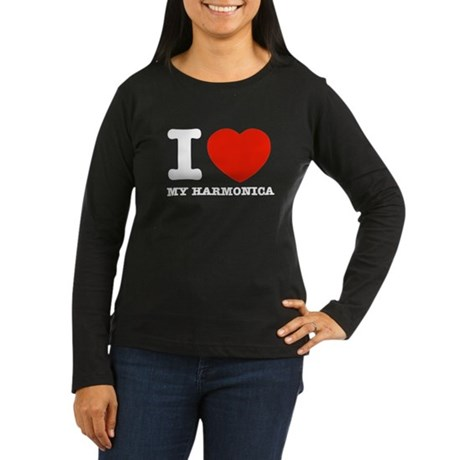I Love My Harmonica Women's Long Sleeve Dark T-Shi