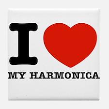 I Love My Harmonica Tile Coaster