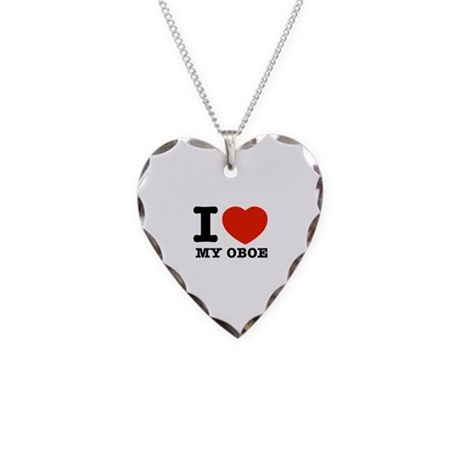 I Love My Oboe Necklace Heart Charm