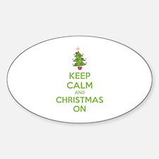 Keep calm and christmas on Sticker (Oval)
