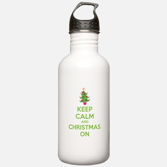 Keep calm and christmas on Water Bottle
