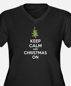 Keep calm and christmas on Women's Plus Size V-Nec