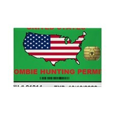 Zombie Hunting Permit Rectangle Magnet