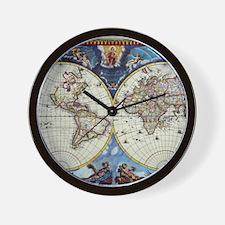 Antique World Map Wall Clock